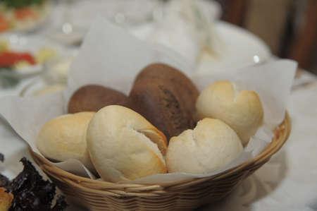 Rolls in a wattled basket  photo