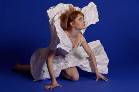 woman in a dress made of paper Stock Photo - 13280000