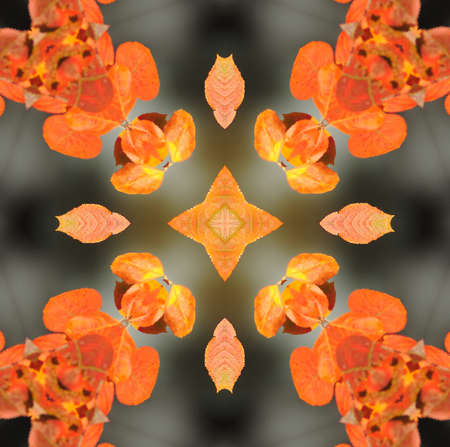 centered: Kaleidoscope in pretty harvest colors of orange, yellow and red