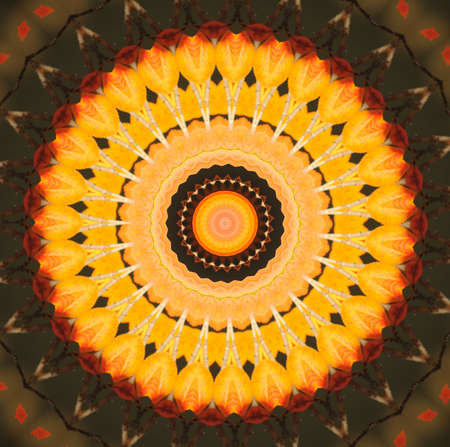 Kaleidoscope in pretty harvest colors of orange, yellow and red photo