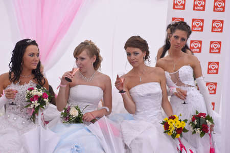 Action «Run-away brides of Cosmopolitan» — a flashmob of long-distance scale which was spent the seventh year.  Russia, St. Petersburg Stock Photo - 13337870