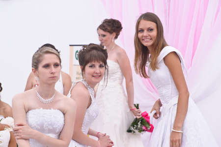 Action «Run-away brides of Cosmopolitan» — a flashmob of long-distance scale which was spent the seventh year.  Russia, St. Petersburg Stock Photo - 13337856