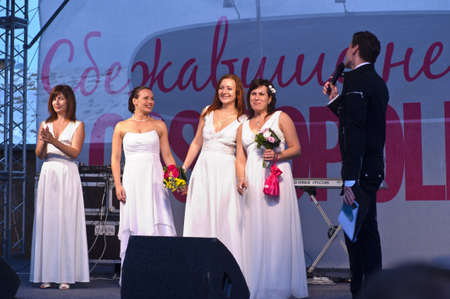 latvia girls: Action «Run-away brides of Cosmopolitan» — a flashmob of long-distance scale which was spent the seventh year   Russia, St  Petersburg