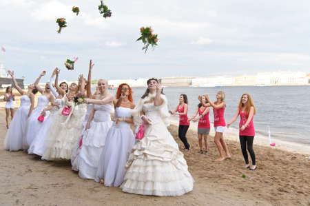 jurmala: Action «Run-away brides of Cosmopolitan» — a flashmob of long-distance scale which was spent the seventh year.  Russia, St. Petersburg
