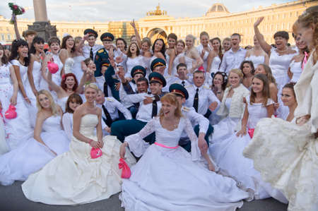 Action «Run-away brides of Cosmopolitan» — a flashmob of long-distance scale which was spent the seventh year.  Russia, St. Petersburg Stock Photo - 13436708