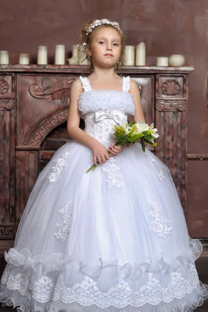 The little girl in a dress of the bride Stock Photo - 13384243