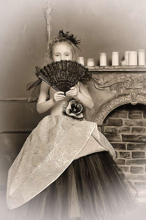 little girl in a retro dress photo