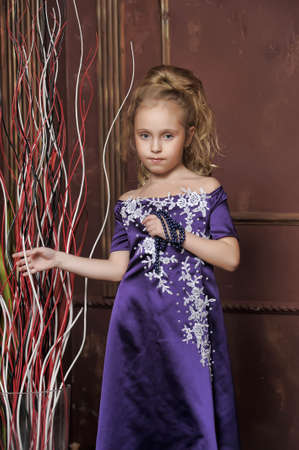 beautiful girl in purple smart dress Stock Photo - 17893102