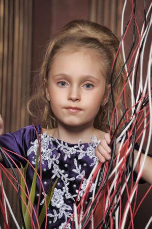 beautiful girl in purple smart dress Stock Photo - 17893097