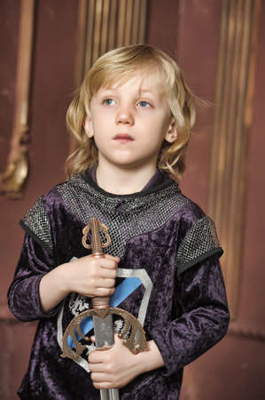 Young boy dressed as a Knight  photo