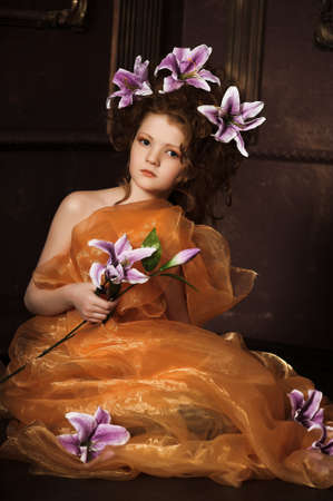 girl with lilac lilies in her hair Stock Photo - 17923461