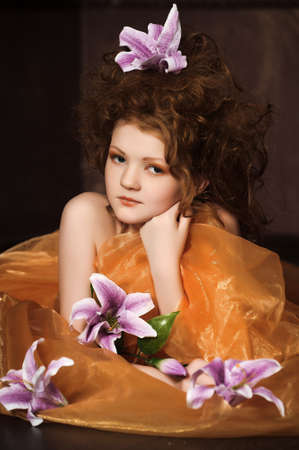 girl with lilac lilies in her hair Stock Photo - 17897768