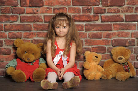 little girl with three bears photo