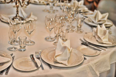 wedding table setting: decorated table