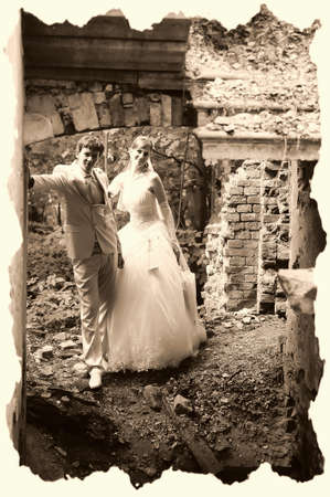 the bride and groom on the ruins Stock Photo - 13461272