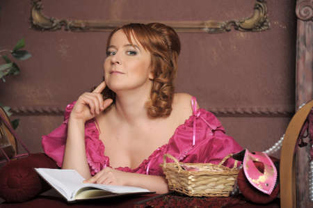 medieval lady with the book Stock Photo - 13480174