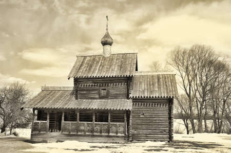 Wooden historic house in Veliky Novgorod, Russia