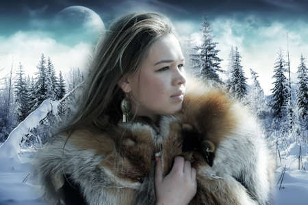 fox fur: The girl against a winter landscape Stock Photo