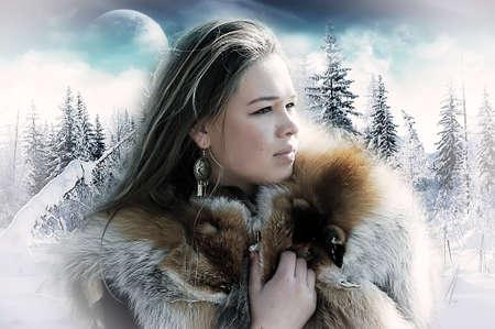 ropa invierno: La ni�a contra un paisaje de invierno
