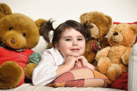 toy bear: girl with toy bear cubs Stock Photo