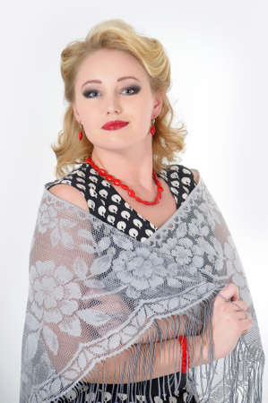 the beautiful young woman with a scarf photo