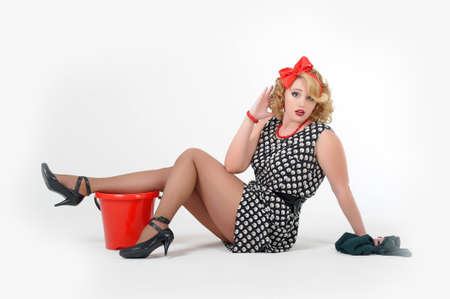 sch�ne Blondine wird in Hausputz besch�ftigt Pin up photo