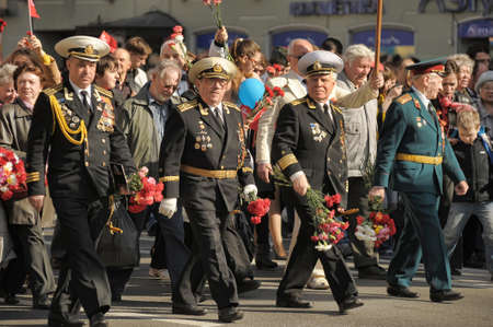 'second world war': Veterans of the Second World War on Victory parade in St. Petersburg, Russia, on May 9 2012 Editorial