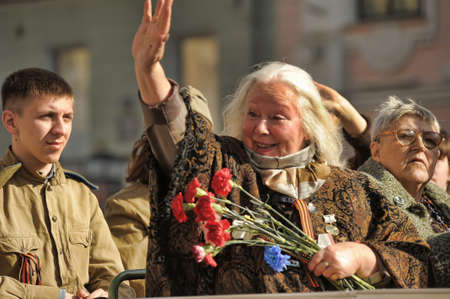 Veterans of the Second World War on Victory parade in St. Petersburg, Russia, on May 9 2012 Stock Photo - 13574335