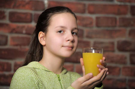 girl teenager and orange juice photo