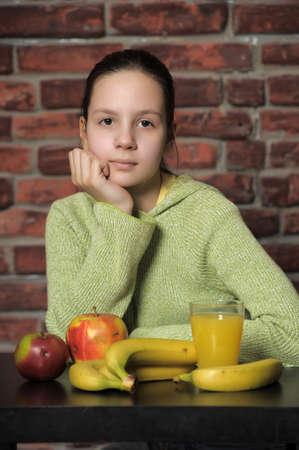 Healthy eating girl photo