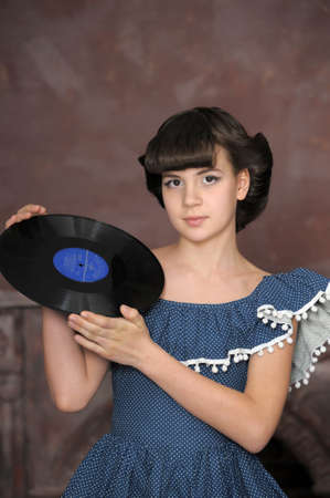 the girl with vinyl records Stock Photo - 13684020