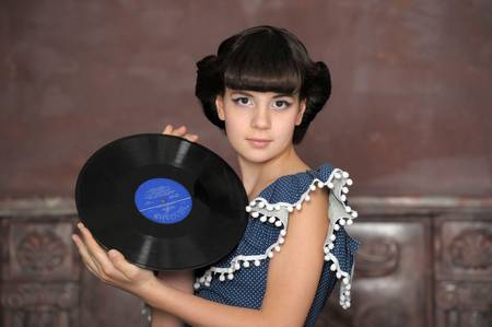 the girl with vinyl records Stock Photo - 13684049