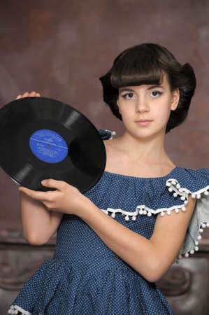 the girl with vinyl records Stock Photo - 13684026