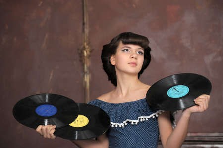 the girl with vinyl records Stock Photo - 13684050