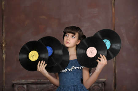 the girl with vinyl records Stock Photo - 13684042