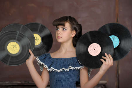 the girl with vinyl records photo