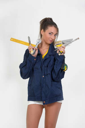 the girl with the tools in the hands Stock Photo - 14235041
