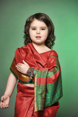 a little girl is in the national Indian suit Stock Photo - 13730939