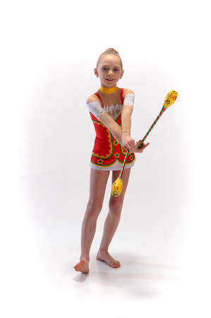 Studio Portrait Of Young Female Gymnast photo