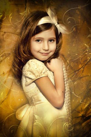 Vintage portrait of a little girl photo