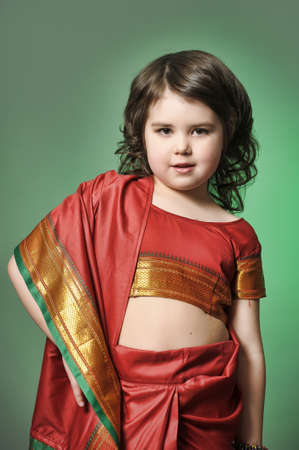 a little girl is in the national Indian suit Stock Photo - 13730910
