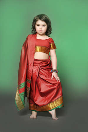 a little girl is in the national Indian suit Stock Photo - 13730895