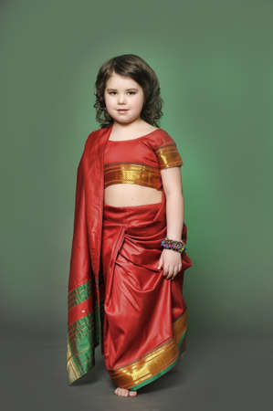 a little girl is in the national Indian suit Stock Photo - 13730893