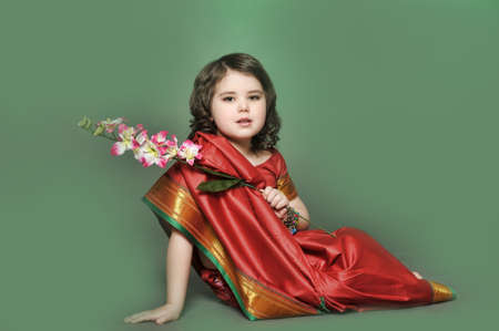 a little girl is in the national Indian suit Stock Photo - 13730944