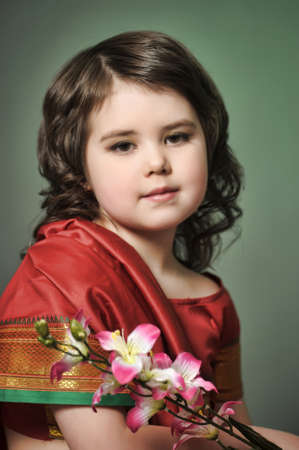 a little girl is in the national Indian suit Stock Photo - 13730947