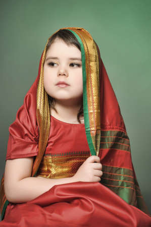 a little girl is in the national Indian suit Stock Photo - 13730966