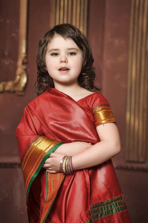 a little girl is in the national Indian suit Stock Photo - 13730961