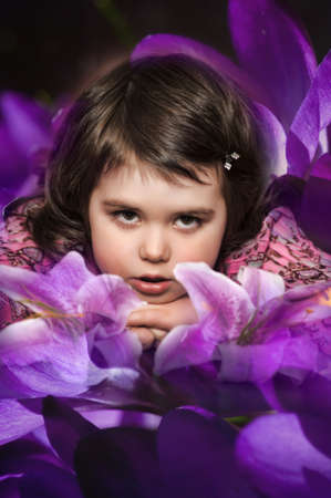 the girl with lilies Stock Photo - 13931163