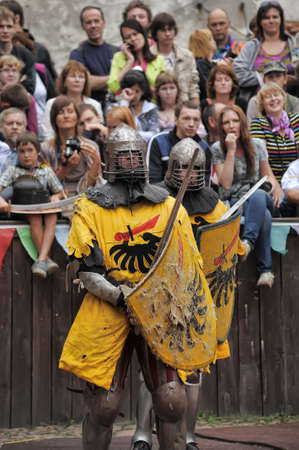 cross armed: in Vyborg Castle, the annual International Festival of Military History connoisseurs and lovers of the Middle Ages, Knight