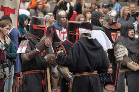 connoisseurs: in Vyborg Castle, the annual International Festival of Military History connoisseurs and lovers of the Middle Ages, Knight